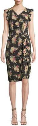 Rebecca Taylor Ruched Sleeveless Floral-Print Ruffle Dress