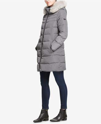 DKNY Petite Faux-Fur-Trim Hooded Puffer Coat