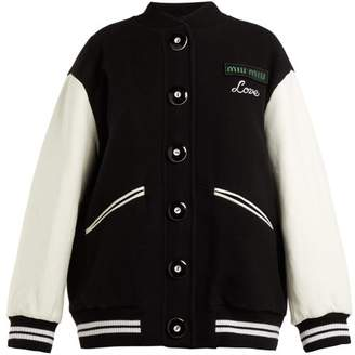 Miu Miu Leather Sleeve Wool Baseball Jacket - Womens - Black
