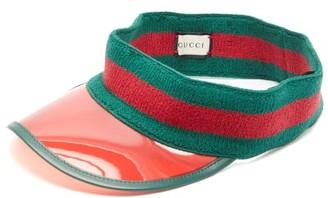 Gucci Web Stripe Pvc Visor - Mens - Green Multi
