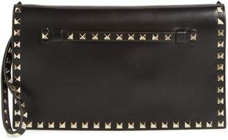 Valentino 'Rockstud' Calfskin Leather Clutch