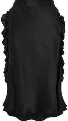 Maggie Marilyn - Leading Lady Ruffled Silk-satin Midi Skirt - Black