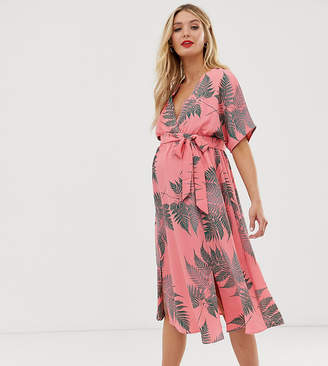 80826d5796ab Glamorous Bloom midi tea dress with tie waist in palm print