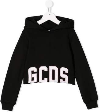 Gcds Kids cropped logo hoodie