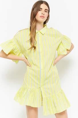 597c799af66a at Forever 21 · Forever 21 Striped Open-Shoulder Shirt Dress