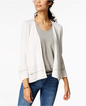 Charter Club 3/4-Sleeve Pointelle-Knit Cardigan, Created for Macy's