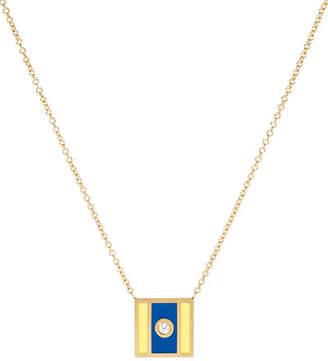 K Kane Code Flag Square Diamond Pendant Necklace - X rXE11
