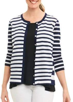 Foxcroft Striped Knit Cardigan