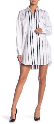 KENDALL + KYLIE Kendall & Kylie Oversized Striped Long Sleeve Shirtdress