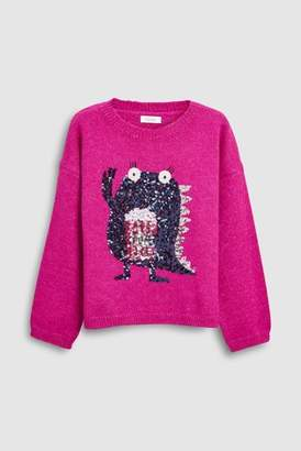 Next Girls Magenta Monster Sweater (3-16yrs)