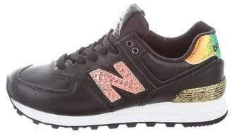 New Balance Girls' Metallic- Accented Round- Toe Sneakers