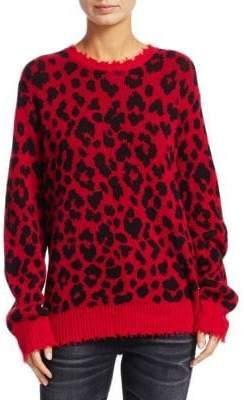 R 13 Leopard Print Knit Cashmere Sweater