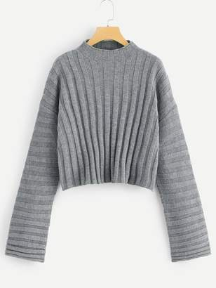 Shein Mixed Knit Solid Sweater