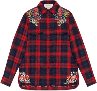 Gucci Dragon embroidered tartan shirt