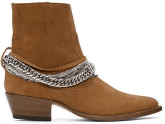 Amiri Brown Suede Western Chain Boots
