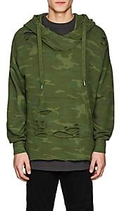 NSF Men's Distressed Camouflage Cotton French Terry Hoodie-Green