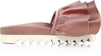 Joshua Sanders Rose Satin Rouches Slide Sandals