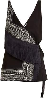 Altuzarra Cheyanne deep V-neck scarf-print stretch-cady top