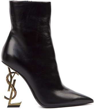 Saint Laurent Opyum Leather Ankle Boots With Bronze Snake Heel