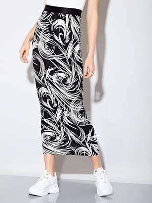 Shein Swirl Print Jersey Maxi Skirt