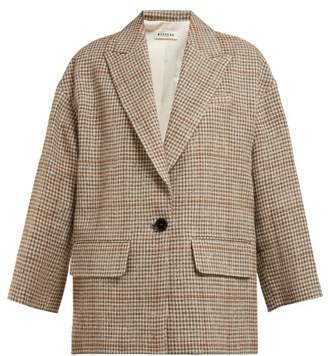 Masscob Norman Houndstooth Linen Blend Blazer - Womens - Multi
