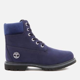Timberland Women's 6 Inch Water Resistant Boots - Dark Evening Blue Waterbuck with Velvet Collar