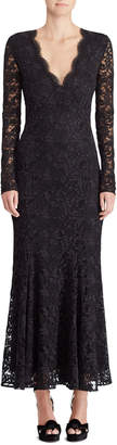 Ralph Lauren 50th Anniversary Estella V-Neck Long-Sleeve A-Line Lace Evening Gown