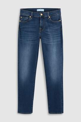 7 For All Mankind Womens Blue Wash Mid Rise Cropped Slim Fit Jean - Blue