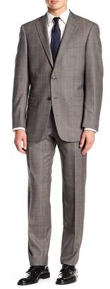 Hart Schaffner Marx Brown Windowpane Notch Lapel Wool New York Fit 2-Piece Suit