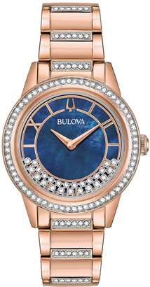 Bulova Women's Rosetone Crystal TurnStyle Bracelet Watch