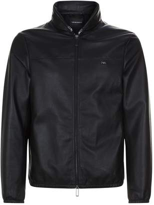 Emporio Armani Hooded Blouson Leather Jacket