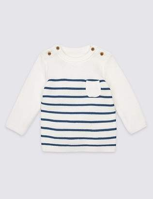 Marks and Spencer Pure Cotton Striped Jumper