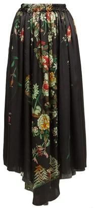By Walid - Margot Floral Print Silk Midi Skirt - Womens - Navy Print