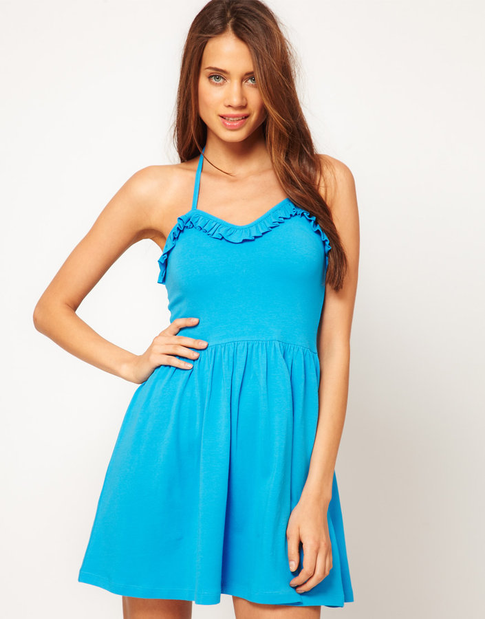 Asos Summer Dress With Frill Sweetheart Neck