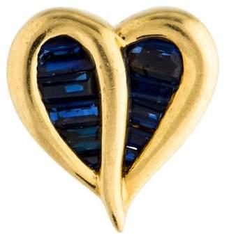 Charles Krypell 18K Sapphire Heart Slider Pendant