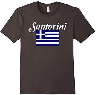 Santorini T Shirt Distressed Flag Greek Island On Aegean Sea