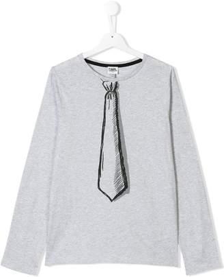 Karl Lagerfeld (カール ラガーフェルド) - Karl Lagerfeld Kids tie print longsleeved T-shirt