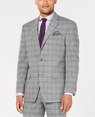 Sean John Men Classic-Fit Stretch Light Gray Plaid Suit Jacket