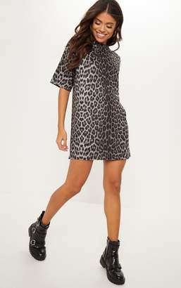 1f83667da67c PrettyLittleThing Leopard Print Oversized T Shirt Dress