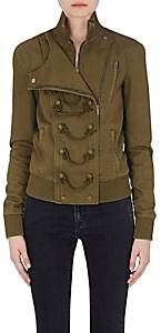 Saint Laurent Women's Cotton-Blend Military Bomber Jacket - Olive