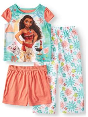 Moana Short Sleeve Top, Shorts & Pants, 3-piece Pajama Set (Toddler Girls)