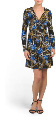 Juniors Long Sleeve Printed Knot Front Dress