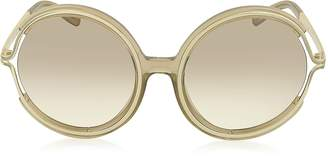 Chloé JAYME CE 708S 272 Light Brown Acetate and Gold Metal Round Women's Sunglasses