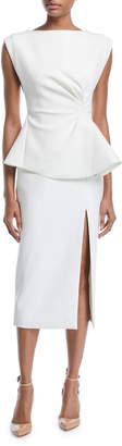Rachel Gilbert Cinched-Waist Sleeveless Sheath Twill Midi Dress w/ Front Slit
