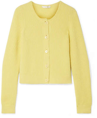 The Row Loulou Ribbed Cashmere Cardigan - Yellow