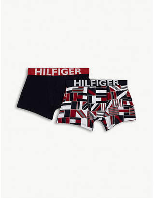Tommy Hilfiger Flag and solid cotton boxer briefs set of two