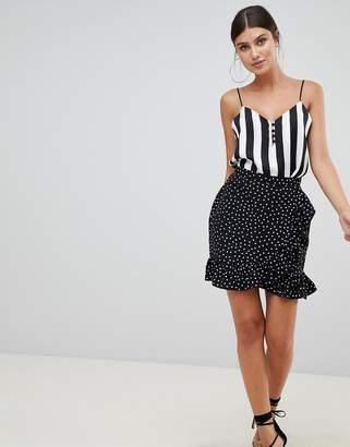PrettyLittleThing Polka Dot Frill Hem Wrap Skirt