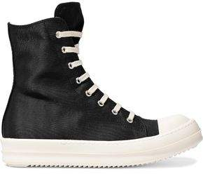 Rick Owens Rubber-Paneled Faille High-Top Sneakers
