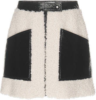 Courreges Paneled Vinyl And Faux Shearling Mini Skirt