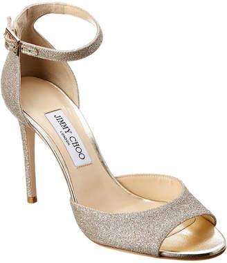Jimmy Choo Annie 100 Ankle-Strap Glitter Sandal